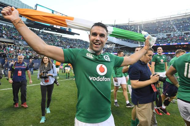 Conor Murray celebrates Ireland's victory over New Zealand at Soldier Field, Chicago, during last year's Autumn Internationals. Photo: Brendan Moran/Sportsfile