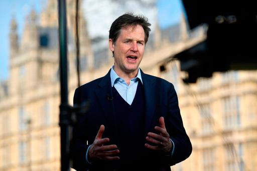 Former Liberal Democrat leader Nick Clegg chatting to the media yesterday. Photo: AFP/Getty Images