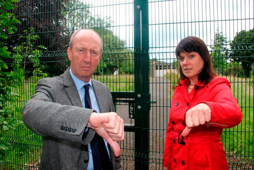 Shane Ross and councillor Deirdre Donnelly at the site of the proposed development near Stillorgan