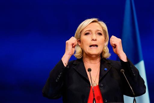 Front National leader Marine Le Pen at a campaign rally in Marseille, France, last night. Photo: Reuters/Robert Pratta