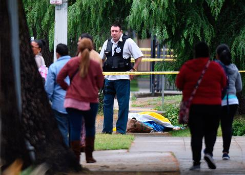 A Fresno police detective stands over the body of one of the three shooting victims. Photo: John Walker/Fresno Bee via AP