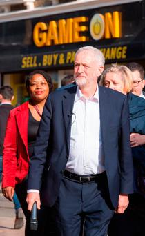 Labour leader Jeremy Corbyn arrives to deliver a speech to party activists in Croydon, London, yesterday Picture: PA