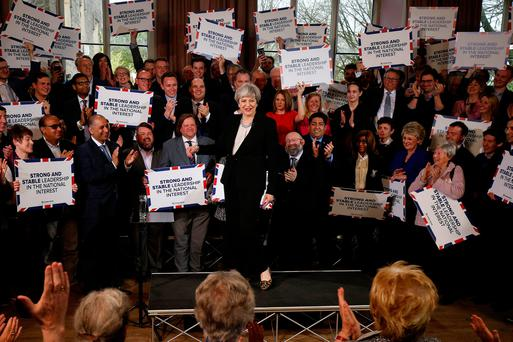 Theresa May delivers a speech to Conservative Party members to launch their election campaign in Walmsley Parish Hall, Bolton, England Picture: REUTERS/Andrew Yates