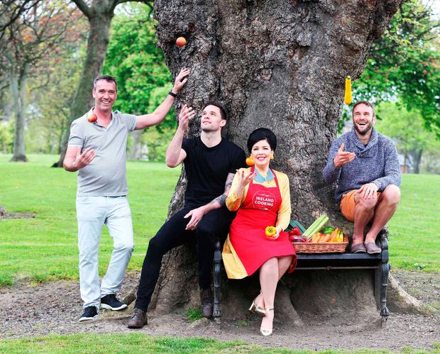 Pictured at the launch of SuperValu's 'Let's Get Ireland Cooking' campaign and the third annual Home Truth's Report are Chef Kevin Dundon, Bressie, Sharon Hearne-Smith and Dave from The Happy Pear.