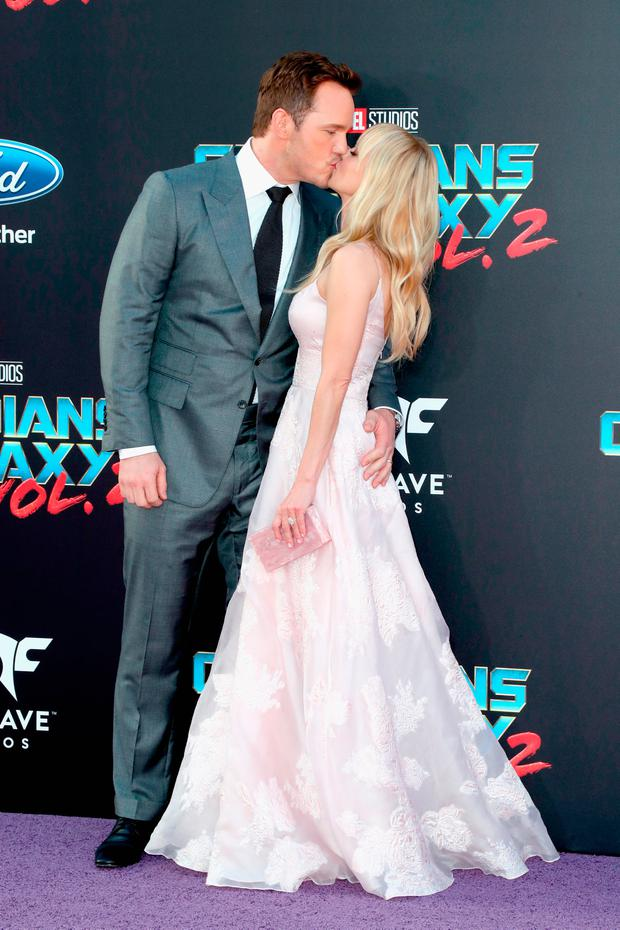 Actors Chris Pratt (L) and Anna Faris at the premiere of Disney and Marvel's