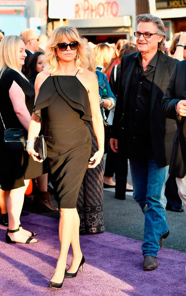 Actors Goldie Hawn and Kurt Russell arrive at the premiere of Disney and Marvel's