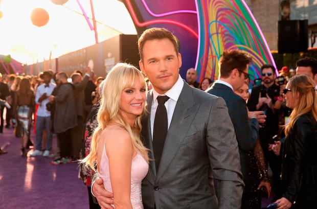 Actors Anna Faris (L) and Chris Pratt at The World Premiere of Marvel Studios Guardians of the Galaxy Vol. 2. at Dolby Theatre in Hollywood, CA April 19th, 2017 (Photo by Jesse Grant/Getty Images for Disney)