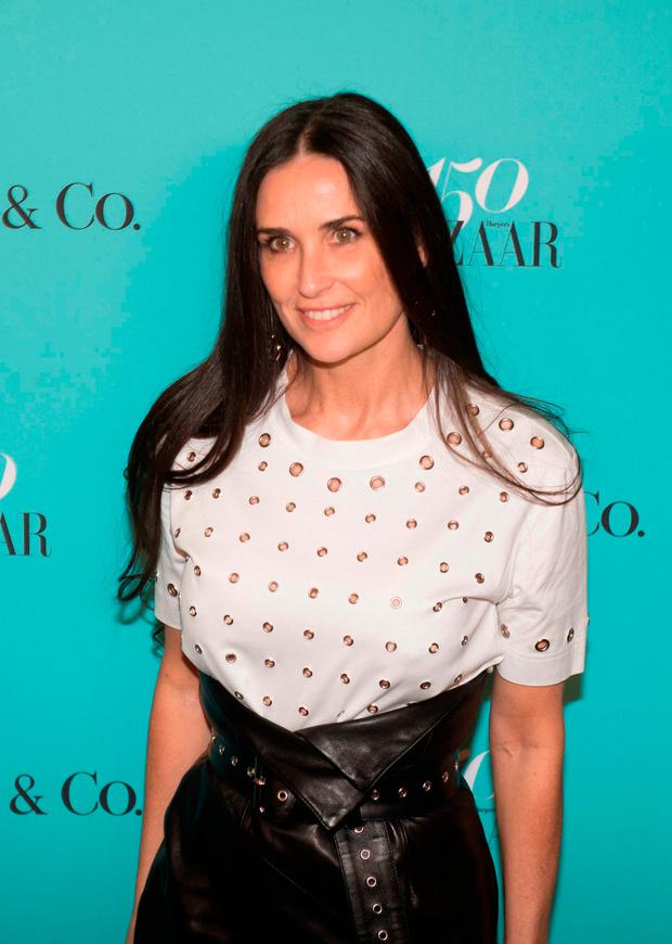 Actress Demi Moore arrives for the Harper's Bazaar and Tiffany & Co., celebration of 150 years of women, fashion and New York at The Rainbow Room, April 19, 2017 in New York. / AFP PHOTO / Bryan R. SmithBRYAN R. SMITH/AFP/Getty Images