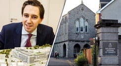 Simon Harris with a model of the new maternity hospital (left), and the Sisters of Charity