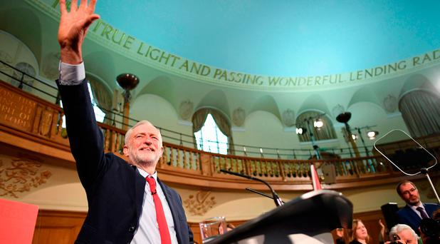British Labour leader Jeremy Corbyn speaks at an election campaign event in Church House, London Photo: Stefan Rousseau/PA Wire