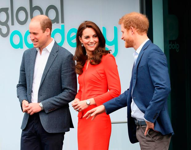 Prince William, Duke of Cambridge, Catherine, Duchess of Cambridge and Prince Harry depart after attending the official opening of The Global Academy in support of Heads Together at The Global Academy on April 20, 2017 in Hayes, England.