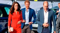 HAYES, ENGLAND - APRIL 20: Prince William, Duke of Cambridge, Catherine, Duchess of Cambridge and Prince Harry arrive at the official opening of The Global Academy in support of Heads Together at The Global Academy on April 20, 2017 in Hayes, England. The Global Academy is a state school founded and operated by Global, The Media & Entertainment Group and will educate students for careers in broadcast and digital media. (Photo by Dominic Lipinski - WPA Pool /Getty Images)