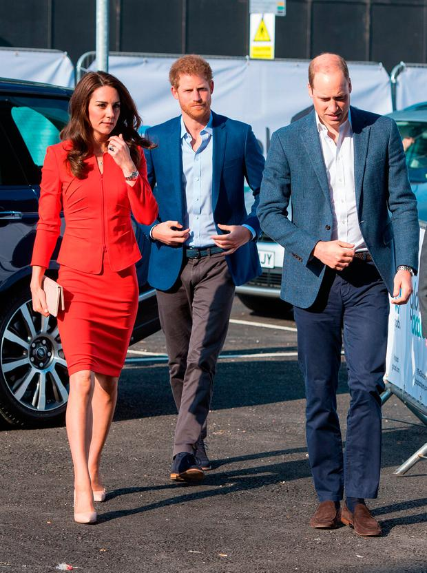 HAYES, ENGLAND - APRIL 20: Prince William, Duke of Cambridge, Catherine, Duchess of Cambridge and Prince Harry attend the official opening of The Global Academy in support of Heads Together at The Global Academy on April 20, 2017 in Hayes, England. The Global Academy is a state school founded and operated by Global, The Media & Entertainment Group and will educate students for careers in broadcast and digital media. (Photo by Dominic Lipinski - WPA Pool /Getty Images)
