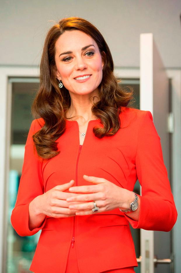 Britain's Catherine, Duchess of Cambridge speaks during the opening event of the Global Academy in Hayes, London on April 20, 2017, in support of the Heads Together campaign. / AFP PHOTO / POOL / Dominic LipinskiDOMINIC LIPINSKI/AFP/Getty Images