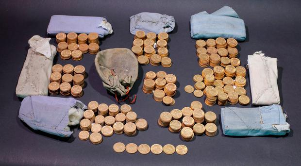 Undated handout photo issued by The Trustees of the British Museum of a hoard of century-old gold coins found hidden in an upright piano. Photo: Peter Reavill/The Trustees of the British Museum/PA Wire