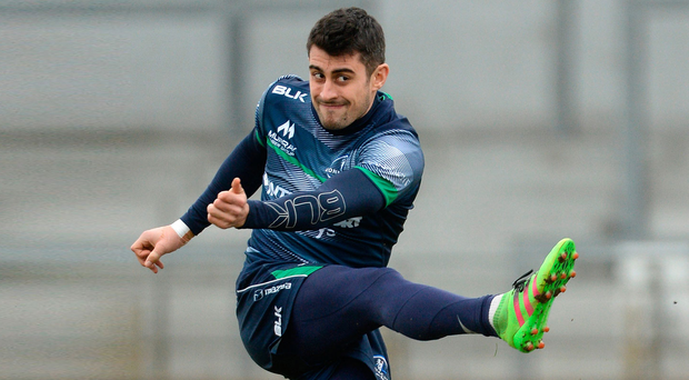 Connacht full-back Tiernan O'Halloran says he is desperate for Connacht to finish the season on a high after they fell to a home defeat to Leinster, who claimed a home semi-final in the Guinness Pro12 with the win. Photo: Piaras Ó Mídheach/Sportsfile