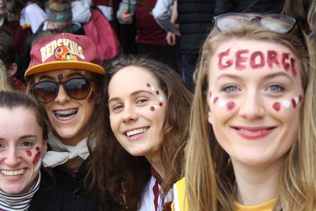 Supporter Jessica Hill and Laura Elwood at the schools final