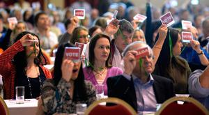 ASTI members vote on a motion at the INEC, Killarney, on Wednesday. Photo: Don MacMonagle