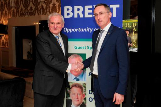 Bertie Ahern with Fianna Fáil councillor Aengus O'Rourke at the Shamrock Lodge Hotel, Athlone, for a meeting to discuss Brexit. Photo: James Flynn/APX