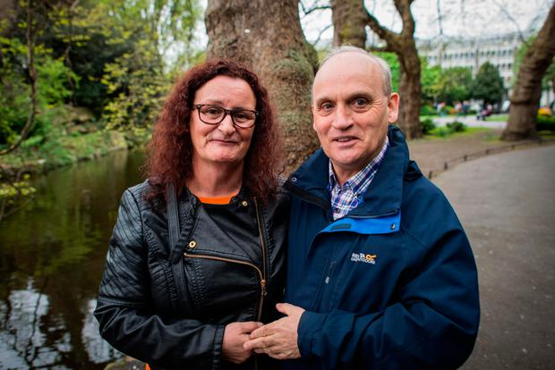 Martin Coffey and Anne Byrne at St Stephen's Green pond yesterday. Photo: Douglas O'Connor