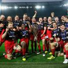 Saracens celebrate their Champions Cup final triumph last year. Photo: David Rogers/Getty Images