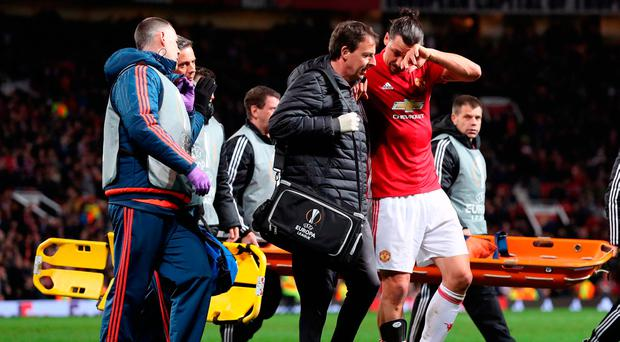 Manchester United's Zlatan Ibrahimovic limped off after sustaining knee damage in the Europa League quarter-final against Anderlecht
