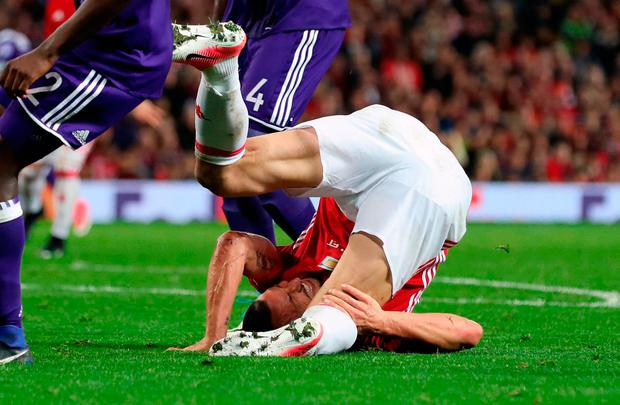 Manchester United's Zlatan Ibrahimovic falls before suffering an injury during the UEFA Europa League, Quarter Final match at Old Trafford, Manchester. PRESS ASSOCIATION Photo. Picture date: Wednesday April 19, 2017. See PA story SOCCER Man Utd. Photo credit should read: Martin Rickett/PA Wire