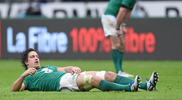 Ireland's Mike McCarthy after picking up a concussion. RBS Six Nations Rugby Championship, France v Ireland. Stade de France, Saint Denis, Paris, France. Picture credit: Ramsey Cardy / SPORTSFILE