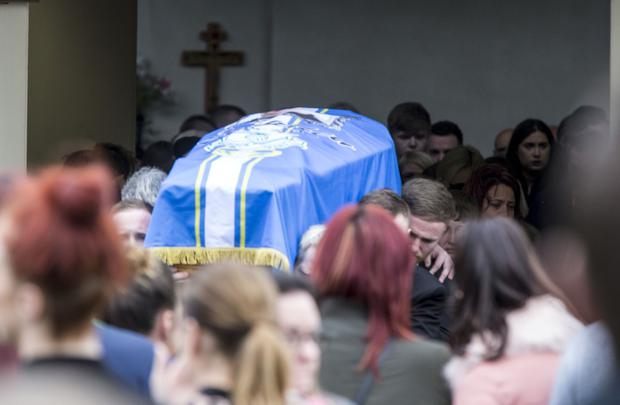 The funeral of Stephen Lynch (32) at St Aidans Church in Brookview, Tallaght (Photo: Colin O'Riordain)