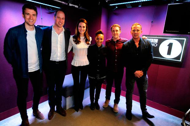 Greg James, William and Kate, Adele Roberts, Chris Stark and Scott Mills during a visit to BBC Radio 1 where the royal couple promoted their Heads Together mental health campaign. Picture: Sarah Jeynes/BBC/PA Wire