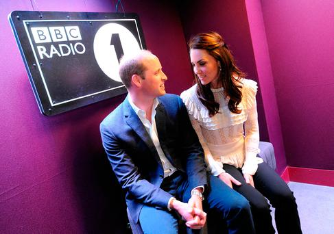 William and Kate visiting BBC Radio 1 where the couple promoted their Heads Together mental health campaign. Picture: Sarah Jeynes/BBC/PA Wire