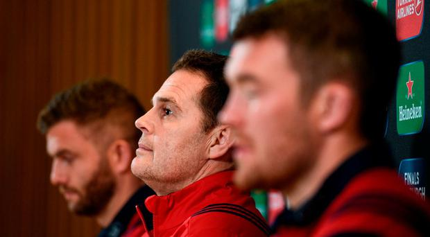 Munster director of rugby Rassie Erasmus during a press conference at the Aviva Stadium in Dublin. Photo by Stephen McCarthy/Sportsfile