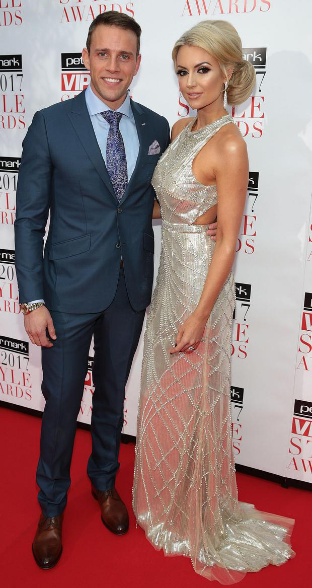 Wes Quirke and Rosanna Davison at the Peter Mark VIP Style Awards 2017 at The Marker Hotel Dublin. Picture: Brian McEvoy
