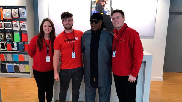 Stevie Wonder and staff at CompuB store in Galway. Picture: @compub