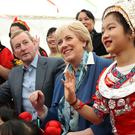 Enda Kenny meets members of the Chinese Children's Dance Academy at the Cruinniú na Cásca celebrations earlier this week. Photo: Maxwells