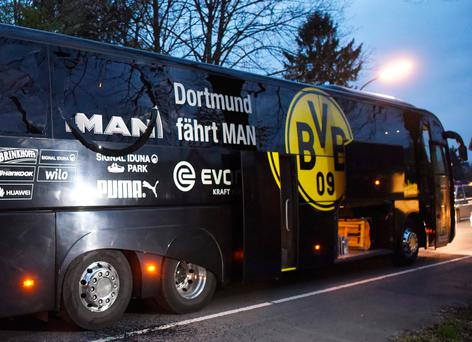 The damaged Borussia Dortmund bus Picture: AFP/Getty