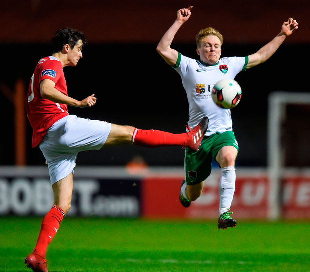 Conor McCormack of Cork City in action against Sam Verdon of St. Patricks Athletic. Photo: Sportsfile