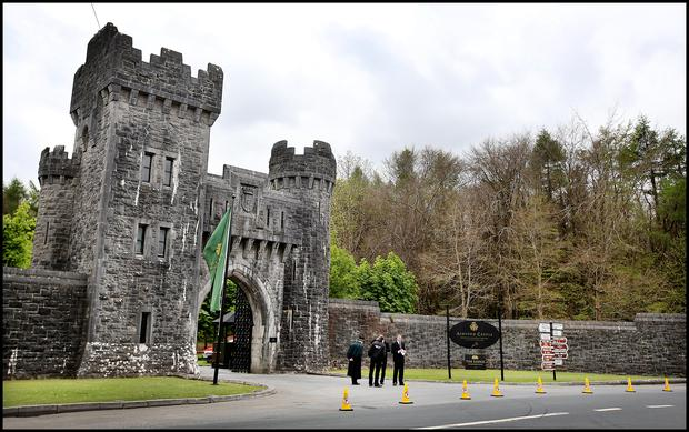 Tight security at the gates of Ashford Castle in Cong, Co Mayo, ahead of the wedding of golfer Rory McIlroy and Erica Stoll Photo: Steve Humphreys