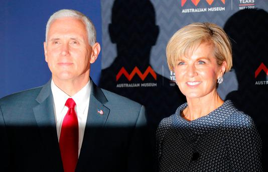 U.S. Vice President Mike Pence poses for a picture with Australian Foreign Minister Julie Bishop during his visit to the Australian Museum in Sydney, Australia, April 22, 2017. REUTERS/Jason Reed