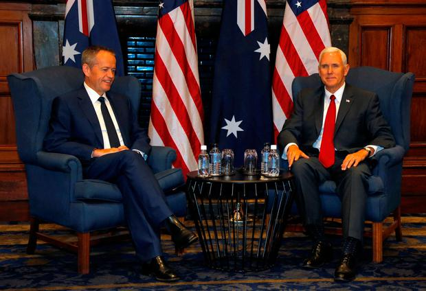 U.S. Vice President Mike Pence (R) meets with Australian opposition Labour Party leader Bill Shorten in Sydney, Australia, April 22, 2017. REUTERS/Jason Reed