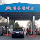 In this April 1, 2016, photo, cars line up at at a gas station in Pyongyang, North Korea. (AP Photo/Eric Talmadge, File)