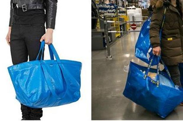 Balenciaga's €2000 tote (left) and Ikea's 99c shopper (right). PIC: @ThuyOng twitter