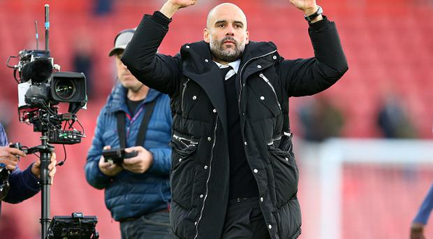 Pep Guardiola the manager of Manchester City celebrates the win during the Premier League match between Southampton and Manchester City at St Mary's Stadium on April 15, 2017 in Southampton, England. (Photo by Catherine Ivill - AMA/Getty Images)