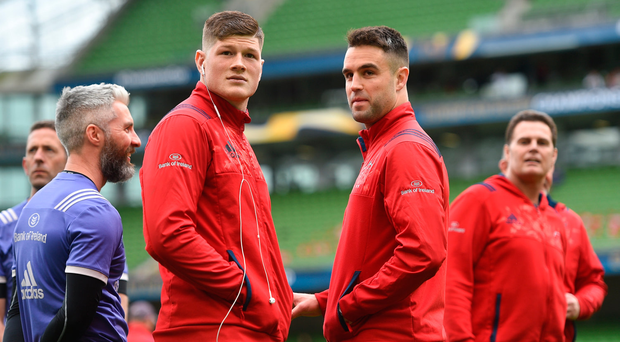 22 April 2017; Jack O'Donoghue, left, and Conor Murray of Munster ahead of the European Rugby Champions Cup Semi-Final match between Munster and Saracens at the Aviva Stadium in Dublin. Photo by Ramsey Cardy/Sportsfile