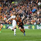 HULL, ENGLAND - APRIL 22: Lazar Markovic of Hull City scores his sides first goal during the Premier League match between Hull City and Watford at the KCOM Stadium on April 22, 2017 in Hull, England. (Photo by Gareth Copley/Getty Images)
