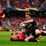 22 April 2017; Chris Wyles of Saracens gains possession ahead of Simon Zebo of Munster on the way to scoring his side's second try during the European Rugby Champions Cup Semi-Final match between Munster and Saracens at the Aviva Stadium in Dublin. Photo by Brendan Moran/Sportsfile