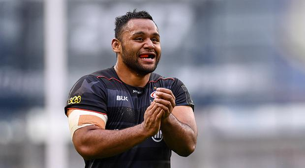 Dublin , Ireland - 22 April 2017; Billy Vunipola of Saracens celebrates after his side's second try during the European Rugby Champions Cup Semi-Final match between Munster and Saracens at the Aviva Stadium in Dublin. (Photo By Ramsey Cardy/Sportsfile via Getty Images)