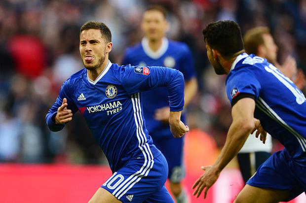 LONDON, ENGLAND - APRIL 22: Eden Hazard of Chelsea celebrates with Diego Costa of Chelsea after he scores his sides third goal during The Emirates FA Cup Semi-Final between Chelsea and Tottenham Hotspur at Wembley Stadium on April 22, 2017 in London, England. (Photo by Chelsea FC/Chelsea FC via Getty Images)
