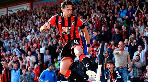 Bournemouth's Charlie Daniels celebrates scoring their fourth goal. Photo: Reuters