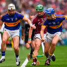 14 August 2016; Brendan Maher, left, of Tipperary, David Burke of Galway and John McGrath of Tipperary during the GAA Hurling All-Ireland Senior Championship Semi-Final game between Galway and Tipperary at Croke Park, Dublin. Photo by Ray McManus/Sportsfile